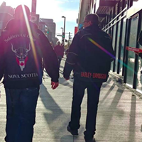 "Members of the now-defunct Soldiers of Odin NS on ""patrol."""