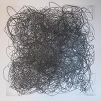 Perma-Hand Silk, unliked and rejected suture threads, Xerox copied and/or enlarged and transferred.