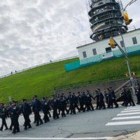 Officers marching to Grand Parade last fall.