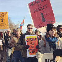 Marchers take to the streets on Monday in solidarity with Wet'suwet'en. Author Sakura Saunders (not pictured) is an Indigenous solidarity activist who has been a supporter of the Unist'ot'en camp since 2010.