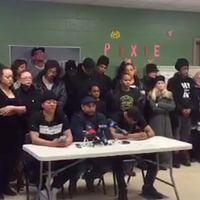 Kate Macdonald, Marcus James and Trayvone Clayton at the press conference at the George Dixon Community Centre.