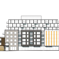 The five storey street wall on Robie Street will have commercial space on the ground floor and residential units above. The three stories and penthouse above will be slightly set back from the road.