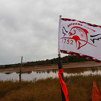 The Sipekne'katik flag waved at the proposed brine storage site when regulatory approvals for Alton Gas were announced in 2016.