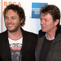 Duncan Jones with his father David Bowie at the 2009 Tribeca Film Festival for the exhibition of Jones's film Moon.