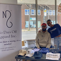 Chaz Samuel and Shayna Cort of No Days Off apparel will be back for another pop-up in Seven Bays Bouldering.