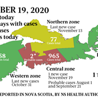 Map of COVID-19 cases reported in Nova Scotia as of November 19, 2020. Legend here.