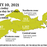 Map of COVID-19 cases reported in Nova Scotia as of January 10, 2021. Legend here.