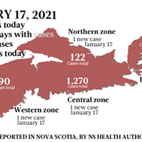Map of COVID-19 cases reported in Nova Scotia as of January 17, 2021. Legend here.