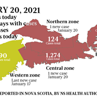 Map of COVID-19 cases reported in Nova Scotia as of January 20, 2021. Legend here.
