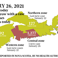 Map of COVID-19 cases reported in Nova Scotia as of January 26, 2021. Legend here.