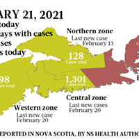 Map of COVID-19 cases reported in Nova Scotia as of February 21, 2021. Legend here.