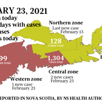 Map of COVID-19 cases reported in Nova Scotia as of February 23, 2021. Legend here.