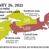 Map of COVID-19 cases reported in Nova Scotia as of February 26, 2021. Legend here.