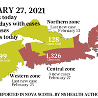 Map of COVID-19 cases reported in Nova Scotia as of February 27, 2021. Legend here.