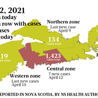 Map of COVID-19 cases reported in Nova Scotia as of April 12, 2021. Legend here. THE COAST