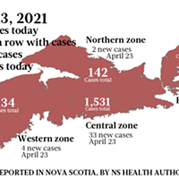 Map of COVID-19 cases reported in Nova Scotia as of April 23, 2021. Legend here. THE COAST