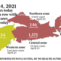 Map of COVID-19 cases reported in Nova Scotia as of April 24, 2021. Legend here. THE COAST