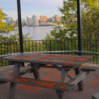 At the Dartmouth Common, a picnic table is spraypainted to mourn the 215 unmarked graves. THE COAST