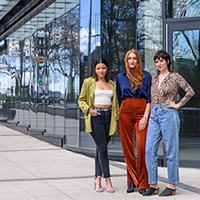 Katie Tower, Natalie Rosen and Ceilidh Sutherland stand in front of the new restaurant space on South Park Street. JESS EMIN