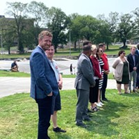 Iain Rankin, joined by Liberal MLAs and supporters, at his Tuesday health care platform announcement on the Halifax Common.