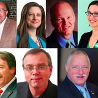 Clockwise from top-left; Megan Leslie, Irvine Carvery, Joanne Hussey, Geoff Regan, Brynn Nheiley, Darren Fisher, Robert Chisholm, Darrell Samson, Thomas Trappenberg, Peter Stoffer, Andy Fillmore.