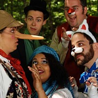 """Melissa MacGougan as """"Pinocchio"""", Peter Sarty as """"Jimmy The Cricket"""", Madeleine Tench as """"Stella Blumt"""", Tom Gordon Smith as """"The Fox"""", and Dan Bray as """"The Cat""""."""