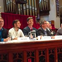 From l-r: Sam Austin, Gabriel Enxuga, Ned Milburn, Tim Rissesco, Derek Vallis, Kate Watson and Warren Wesson.