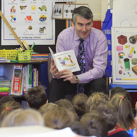 Stephen McNeil during a visit to Prospect Road School in Halifax.