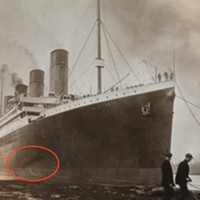The circled dark area may be proof of an uncontrollable fire in the Titanic's coal bunkers.