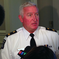 Halifax Regional Police deputy chief Bill Moore, speaking to reporters inside City Hall on Monday.