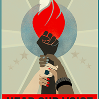 """""""Hear our voice,"""" a poster for Saturday's event designed by Liza Donovan."""