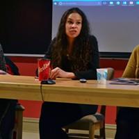 The panelists at Talk Justice, (l-r) Naiomi Metallic, El Jones and Nabiha Atallah.