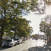 This section of Almon Street could see two bike lanes and one side of on-street parking.