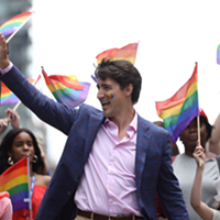 Prime minister Justin Trudeau marches in the Toronto Pride parade last month.