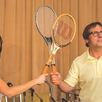 Considering all those racquets, there's hardly any tennis in Battle of the Sexes until the eponymous battle.