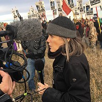 Amy Goodman covering the Standing Rock water protection actions in October 2016.