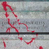 Red paint thrown on the base of the Edward Cornwallis statue in 2016.