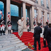 """""""Charles de Gaulle accueil la délégation acadienne, janvier 1968"""" (oil on wood)."""