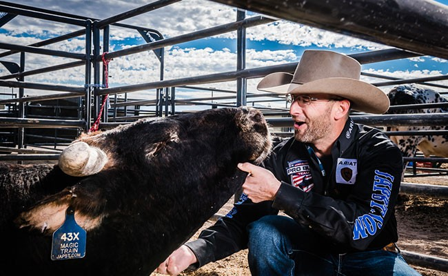 PBR stock contractor Matt Scharping with his bull Magic Train, at the 2017 PBR World Finals in Las Vegas. - VIA ROBYN MCISAAC
