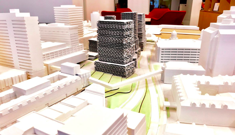 A scale model of possible building developments inside the new Cogswell district—for ants! - VIA HRM
