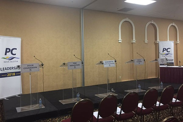 Empty podiums at the last Tory leadership debate earlier this month. Jennifer Searle is a PhD student and registered nurse who practices within the mental healthcare system and Dalhousie School of Nursing as a clinical educator. - VIA FACEBOOK