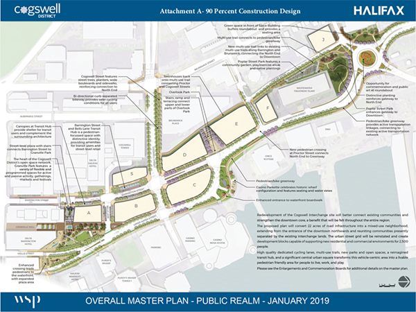 The Cogswell redevelopment 90 percent plan will bring green space and car-second transit to the area. - SUBMITTED