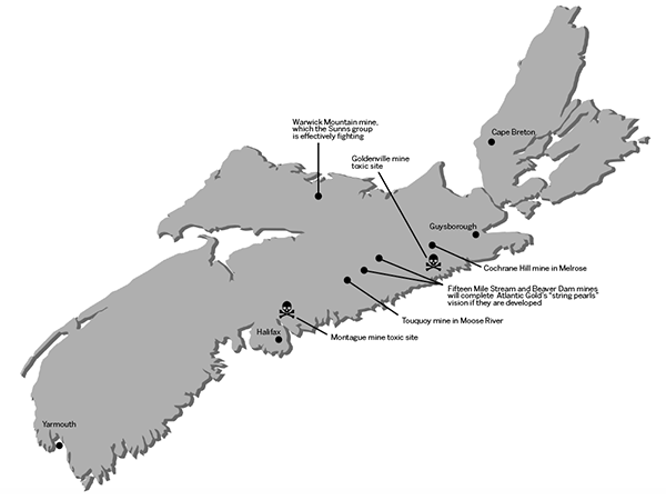 "Atlantic Gold talks about a ""string of pearls""—four gold mines from Tuoquoy in Moose River to Cochrane Hill in Melrose—but future Nova Scotians would doubtless call it a string of toxic waste sites."