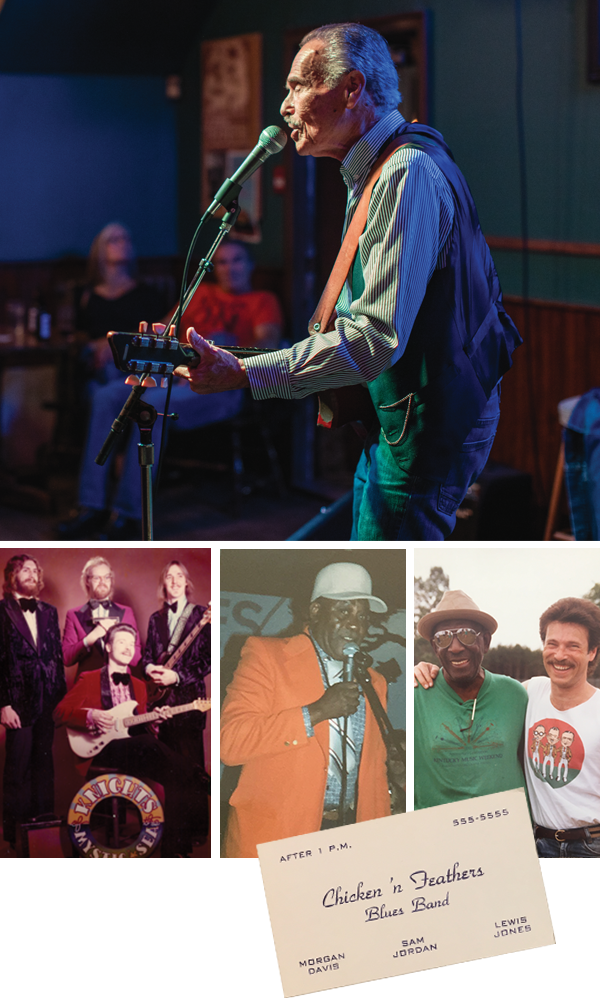 """Davis—pictured at top at his regular Monday gig at Bearly's—says he """"survived the disco era"""" by adding a blues influence to the Knights of The Mystic Sea (bottom left). By the early '80s, Davis was backing legends like Chicago harmonica great Snooky Pryor (bottom middle). - RILEY SMITH, SUBMITTED"""