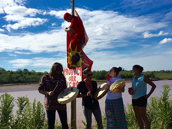 Treaty assertion on the Sipekne'katik River by Shubenacadie River water protectors, protesting Alton Gas. - SUBMITTED
