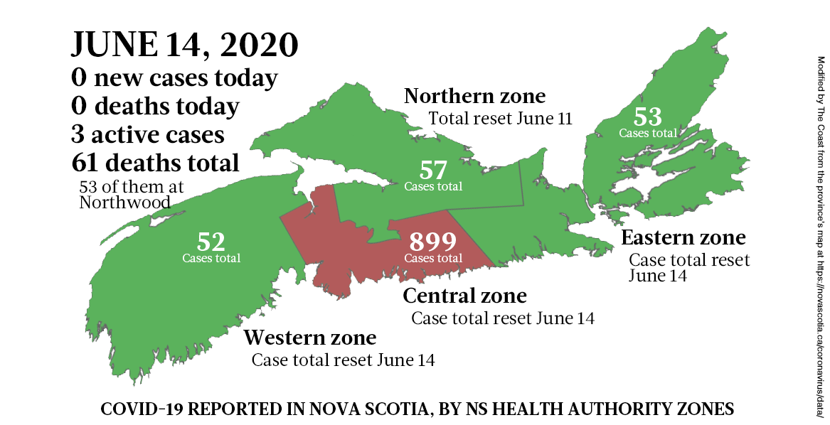 Map of COVID-19 cases in Nova Scotia as of June 14, 2020. - THE COAST