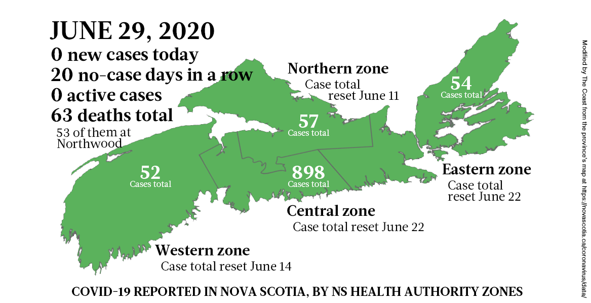 Map of COVID-19 cases in Nova Scotia as of June 29, 2020. - THE COAST
