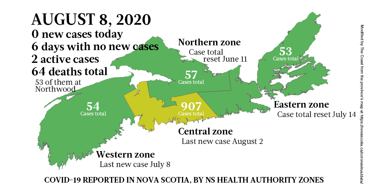 Map of COVID-19 cases reported in Nova Scotia as of August 8, 2020. - THE COAST