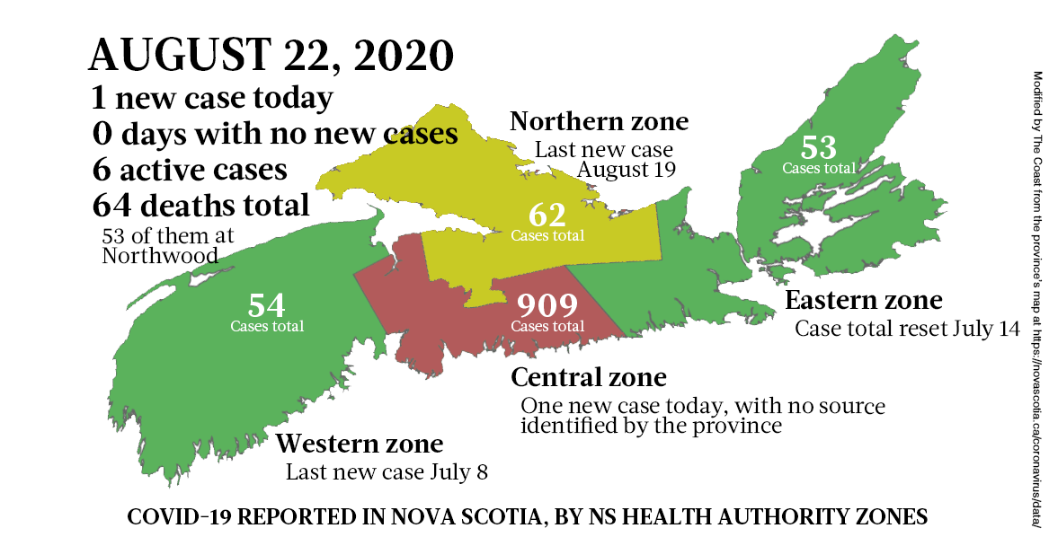 Map of COVID-19 cases reported in Nova Scotia as of August 22, 2020. - THE COAST