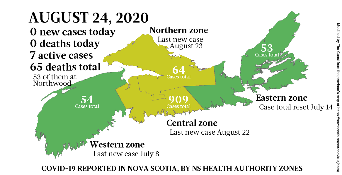 Map of COVID-19 cases reported in Nova Scotia as of August 24, 2020. - THE COAST
